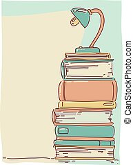 Books Lamp Background Illustration