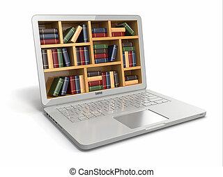 books., library., 또는, 인터넷, e배움, 교육, 휴대용 퍼스널 컴퓨터