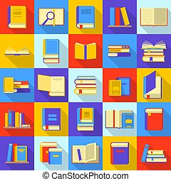 Books library education icons set, flat style