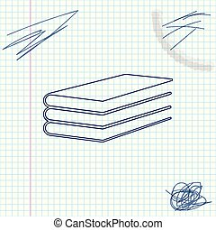 Books line sketch icon isolated on white background. Vector Illustration