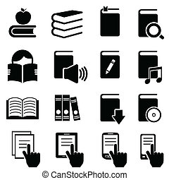 Books, literature and reading icon set