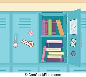 Books Lockers Illustration