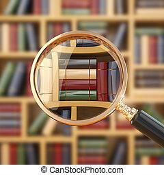 books., loupe, buscando, library.
