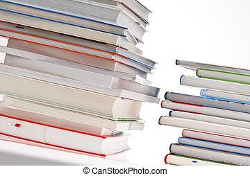 books., mucchio, isolato