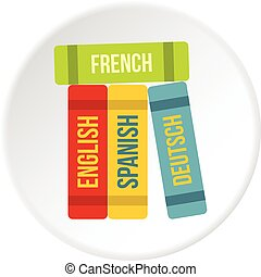 Books of foreign languages icon circle