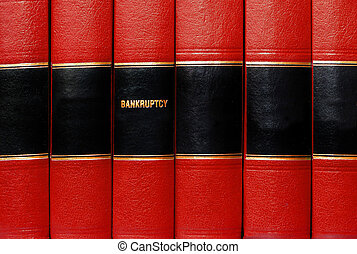 Books on Bankruptcy - Close up of several volumes of books...