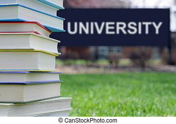 books on campus of university: concept of higher education