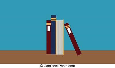 Books on desk HD animation - Books piled on wooden desk...