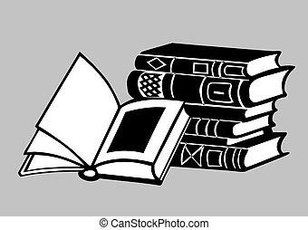 books on gray background, vector illustration