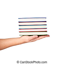Books on hand isolated on white background.