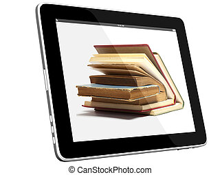 Books on iPad 3D concept - Book and teblet computer 3D model...