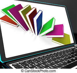 Books On Laptop Shows Research