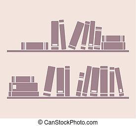 Books on shelf vector illustration