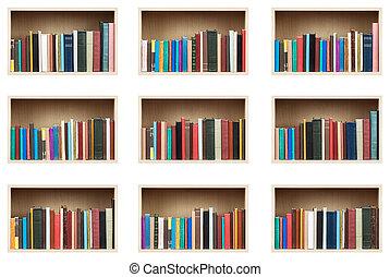 Books on shelves, isolated set.