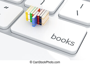 Books on the computer keyboard. Education concept
