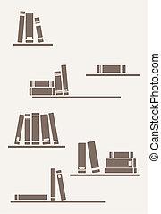 Books on the shelf - retro vector