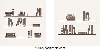 Books on the shelf vector set