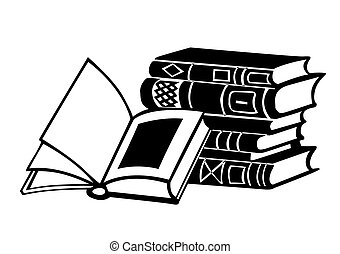 books on white background,