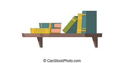 Books on wooden shelf isolated on white background