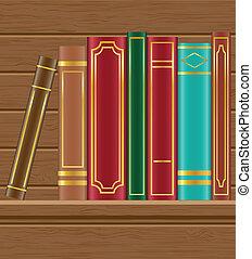 books on wooden shelf vector illustration