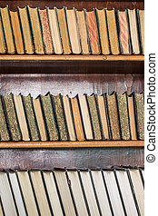 Books on wooden shelves in the library