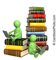 Books online - Library online. Two puppets with laptops