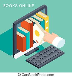 Books online library isometric 3d flat concept