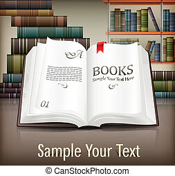 Books open with text on desk - New books open with text on ...