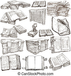 Books. Pack of an hand drawn illustrations - BOOKS -...