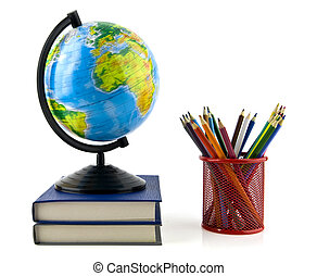 books, pencils and globe
