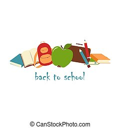 Books, pens, briefcase, backpack and green apple