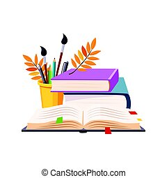 Books Pile And Writing Tools, Set Of School And Education Related Objects In Colorful Cartoon Style
