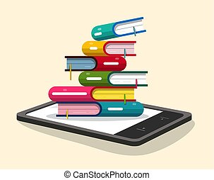 Books Pile with E-book Reader. Vector Flat Design Ebooks Illustration.