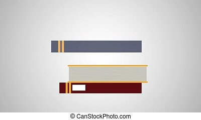 Books piled up HD animation - Stacked books on gray...