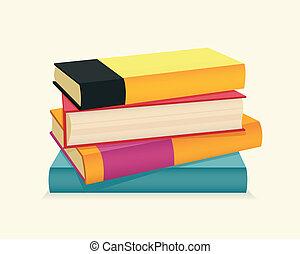 books., pilha, coloridos
