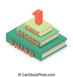 Books pyramid infographic. Isometric flat vector