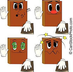 Books raising his hand and put the other on a holy book. Cartoon book collection with various faces. Expressions vector set.