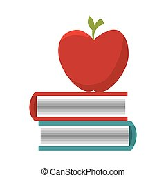 books school supply with apple icon