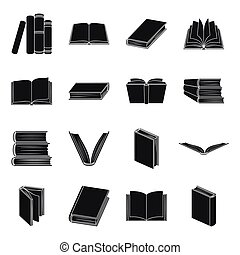 Books set icons in black style. Big collection of books vector symbol stock illustration