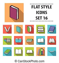 Books set icons in flat style. Big collection of books vector symbol stock illustration