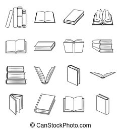 Books set icons in line style. Big collection of books vector symbol stock illustration