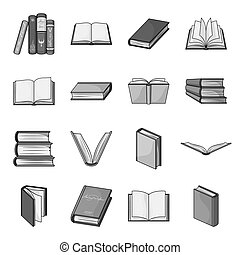 Books set icons in monochrome style. Big collection of books vector symbol stock illustration