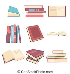Books set in flat design style, vector illustration