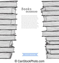 Books sketch background - Pile of books. Sketch on white ...