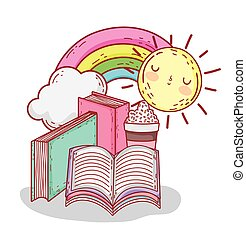 books smoothie rainbow and sun cartoon
