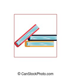 books stack flat style icon