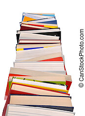 Isolated high books stack isolated on white background