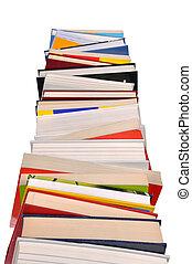 Books Stack - Isolated high books stack isolated on white...