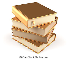 Books stack of book blank golden covers yellow textbooks
