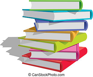 Books stack - Stack of multicolor books on white background....